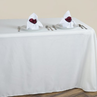 Balsacircle 90' x 132' Polyester Rectangular Tablecloth Rounded Corners - Ivory