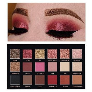 VERONNI Beauty Shimmer +Matte Eyeshadow Palette 18 Colors Metallic Rose Gold Pigment Glitter Sunset Eye Shadow Make Up Long Lasting Waterproof Eye Cosmetic Makeup
