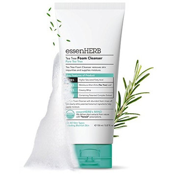 ESSENHERB TEA TREE FOAM CLEANSER, Creates a Creamy Foam that Soothes and Moisturizes, For All Skin Types Including Blemishes. (150ML)
