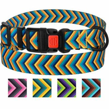 Nylon Dog Collar Adjustable Collars for Large Dogs with Buckle, Yellow/Blue