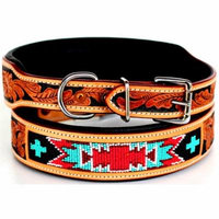 Dog Puppy Collar Cow Leather Adjustable Padded Canine 6061TL