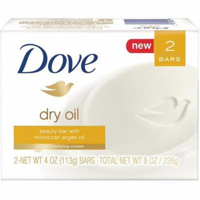 2 Pack - Dove Beauty Bar, 4 oz bars, Dry Oil 2 ea