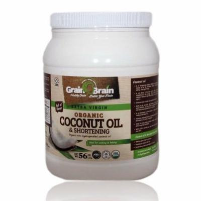 Grain Brain Extra Virgin Coconut Oil Unrefined Cold (54oz) Pressed for Cooking Baking Frying, Skin and Hair