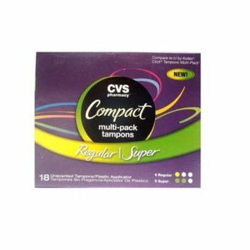 CVS Tampons Compact Applicator Multi-pack, 9 Regular & 9 Super Unscented Tampons
