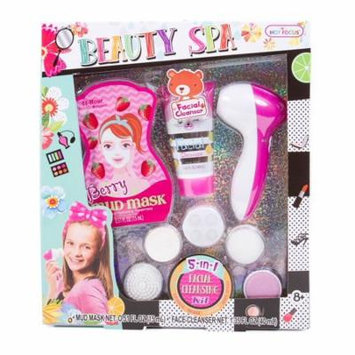 Hot Focus Beauty Spa- 5 in 1 Facial Cleansing Kit with Berry Mud Mask & Moisturizing Facial Cleanser for Girls (HFC-160)