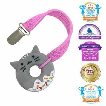 Silli Chews 2 Inch Mini Donut Food Teething Toy Grey Kitty Cat Animal Teether With Pink Pacifier Teether Strap Clip For Girls Popular Shower Gift Gum Soother