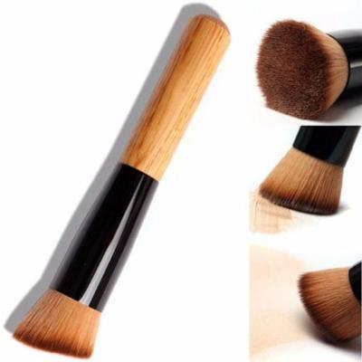 Clearence!Wooden Liquid Foundation Powder Makeup Brush Flat Angled/Round Head GOGBY
