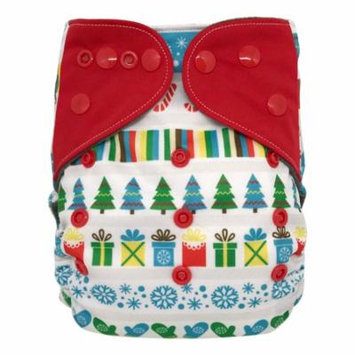 One Size All-in-one Cloth Diaper with Snaps, Christmas