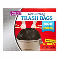 Nicole Home Collection Drawstring Trash Bags, 30 Gallon, Black, 40 Ct