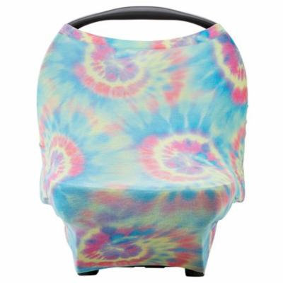 Parker Baby 4 in 1 Car Seat Cover for Girls and Boys - Stretchy Carseat Canopy, Nursing Cover, Grocery Cart Cover, Infinity Scarf - Tie Dye