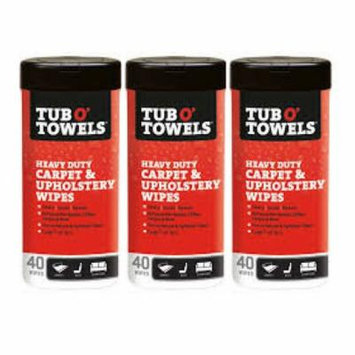 Tub O Towels Carpet And Upholstery Spot Remover Cleaning Wipes (Tub of 40 Wipes) - 3 Pack