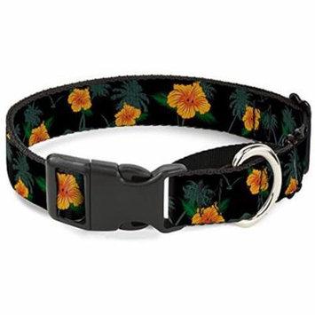 Buckle-Down MGC-W30869-L Hibiscus Flowers Black Green Orange Martingale Dog Collar