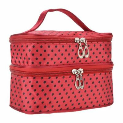 Women's Double Layer Make Up Organiser Toiletry Bag Polka-Dotted With Hand Strap For Travel - Red