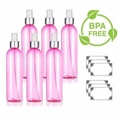 Pink 8 oz / 240 ml Slim Cosmo Round PET (BPA Free) Plastic Bottle with Silver Fine Mist Sprayer (6 pack) + Labels