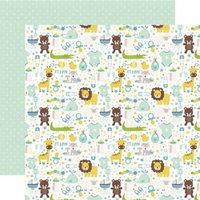 It's A Boy; Animals/Green W/White Dots - Sweet Baby Boy Double-Sided Cardstock 12