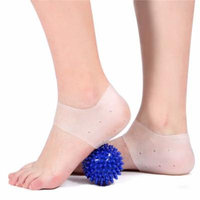 Plantar Fasciitis Treatment,Heel Pain Relief Protectors 1 pairs with 1 Foot Massage Ball Reduce Pressure on Heel,Relief Heel Pain and Cracked Heel(White)