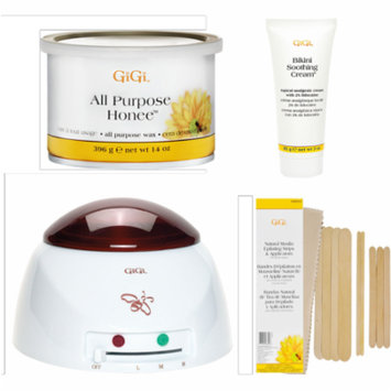 Gigi Professional Wax Warmer with 14 Oz. All Purpose Honey Wax and Natural Muslin & Spatula Combo with BONUS Bikini Soothing Cream