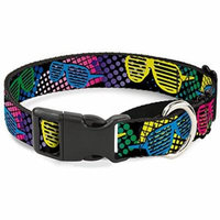 Buckle-Down Eighties Shades Black Neon Martingale Dog Collar