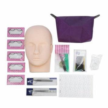 TMISHION Grafting Eyelash Training Extension False Eyelashes Practice Exercise Set Full Mannequin Training Makeup False Eyelashes Extension Glue Professional Tool