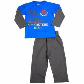 Mish Mish Baby Boys Infant Toddler Long Sleeve Cotton 2 Piece Pant Sets, 34521 ROYAL-COAL Speedsters Car / 24Months