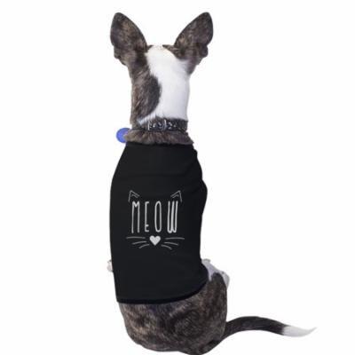 Meow Cotton Pet Shirt Black Small Dogs Clothes