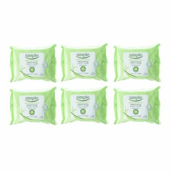 Simple Cleansing Facial Wipes 25 Count (Pack Of 6)