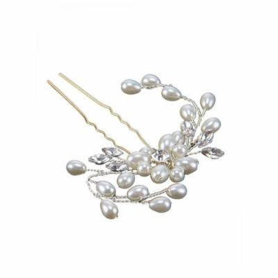 Stylish Wedding Bridal Pearl Flower Crystal Hair Pins Bridesmaid Clips Side Comb USHHE