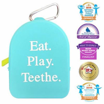 Silli Chews Baby Teether and Pacifier Storage Tote Baby Bag with Mom Clip For Infant Teething Toys Diaper Bag Keychain Keeps Snacks, Pacifiers, Teethers, and Toys Clean, Dry and Off The Floor Blue