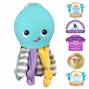 Silli Chews 2 In 1 Octopus Friend Soft Plush Baby Toy and Silicone Squishy Teething Pain Relief Teether for Babies Infants and Toddlers Touch and Feel Oral Stimulation Chew Toy Blue