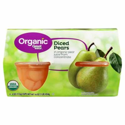 Great Value Organic Diced Pears, 16 oz, 4 Count