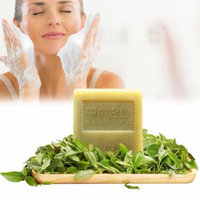 Natural Matcha Handmade Soap, Face Pore Cleaning Moisturizing Anti-Acne Anti Blackhead Cleansers Soaps, Free Bonus Wooden Soap Dish, Foaming Net, Small Soap