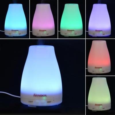 Portable Aromatherapy Essential Oil Diffuser with Color LED Lights Ultrasonic Cool Mist Humidifier Changing and Waterless Auto Shut-off Function for Home Office Bedroom Room 120ml 24V US Plug ANGHE