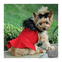 Wool Fur-Trimmed Dog Harness Coat - Red Large