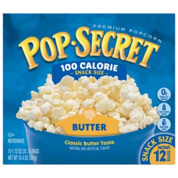 Pop Secret Microwave Popcorn, Butter 100 Calorie Microwave Bags, 1.12 Oz, 12 Ct
