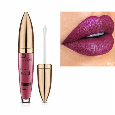 Glitter Flip Matte Liquid Lip Gloss Non-stick Cup Diamond Nude Lipgloss Long Lasting moisturizer Lip Gloss Matte Batom (02#)