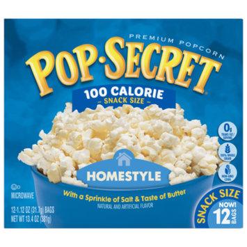 Pop Secret Microwave Popcorn, Homestyle 100 Calorie, 1.12 Oz, 12 Ct