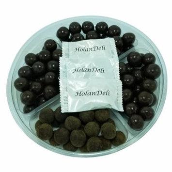Assorted Dark Chocolate Caramels Gift Basket Tray. Tiramisu Caramels, Coconut Milk Caramels, Sea Salt Caramels, Espresso Caramels. Includes Our Exclusive HolanDeli Chocolate Mints.