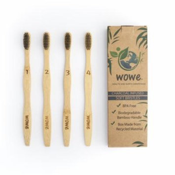 Wowe Natural Organic Bamboo Toothbrush Individually Numbered, BPA Free Charcoal Infused Bristles, Pack of 4