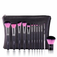 Black & Silver Fiber Hair and Wool 12Pcs Makeup Cosmetic Foundation Makeup Brushes Kit With A Brush Bag