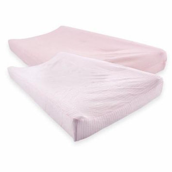 Touched by Nature Baby Boy and Girl Organic Changing Pad Cover, 2-Pack - Barely Pink