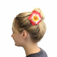 Hawaii Luau Party Dance Artificial Foam Round Hibiscus Hair Clip White with Red Edge, 4 Pack