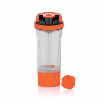 SimpleHH 24oz BPA Free Protein Shaker Bottle with Mixball and 7 oz Twist and Lock Storage| 3-in-1 Gym Water Bottle | Red