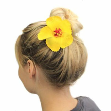 Hawaii Luau Party Dance Artificial Foam Round Hibiscus Hair Clip Solid Yellow