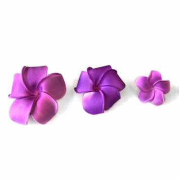 Hawaii Luau Party Dance Artificial Foam Round Plumeria Hair Clip Solid Purple, Medium