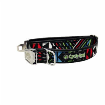Cycle Dog Black Multi-Colored Modern Art Dog Collar With Bottle Top Opener - L
