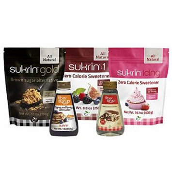 Sukrin Sweetener Kit - 5 items: Gold, Sukrin:1, Icing, Fiber Syrup Gold, Fiber Syrup Clear