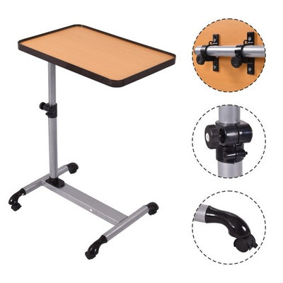 All Goodly Laptop/Medical/Elderly/Patient Top Overbed Bedside Rolling Table (BEECH WOOD)