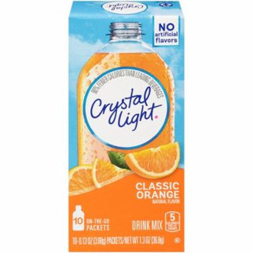 Crystal Light On-The-Go Classic Orange With Vitamin C & Calcium Drink Mix Packets, 10 Count (Pack of 12)