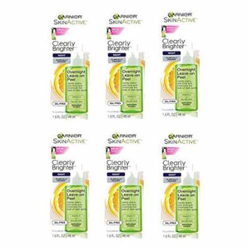 Lot of 6 Garnier SkinActive Clearly Brighter Overnight Leave-on Peel 1.6 fl. oz