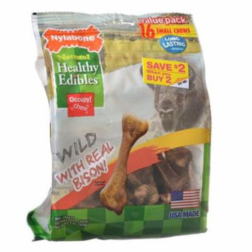Nylabone Healthy Edibles Wild Chew Bone - Bison Small - 16 Pack - Pack of 4